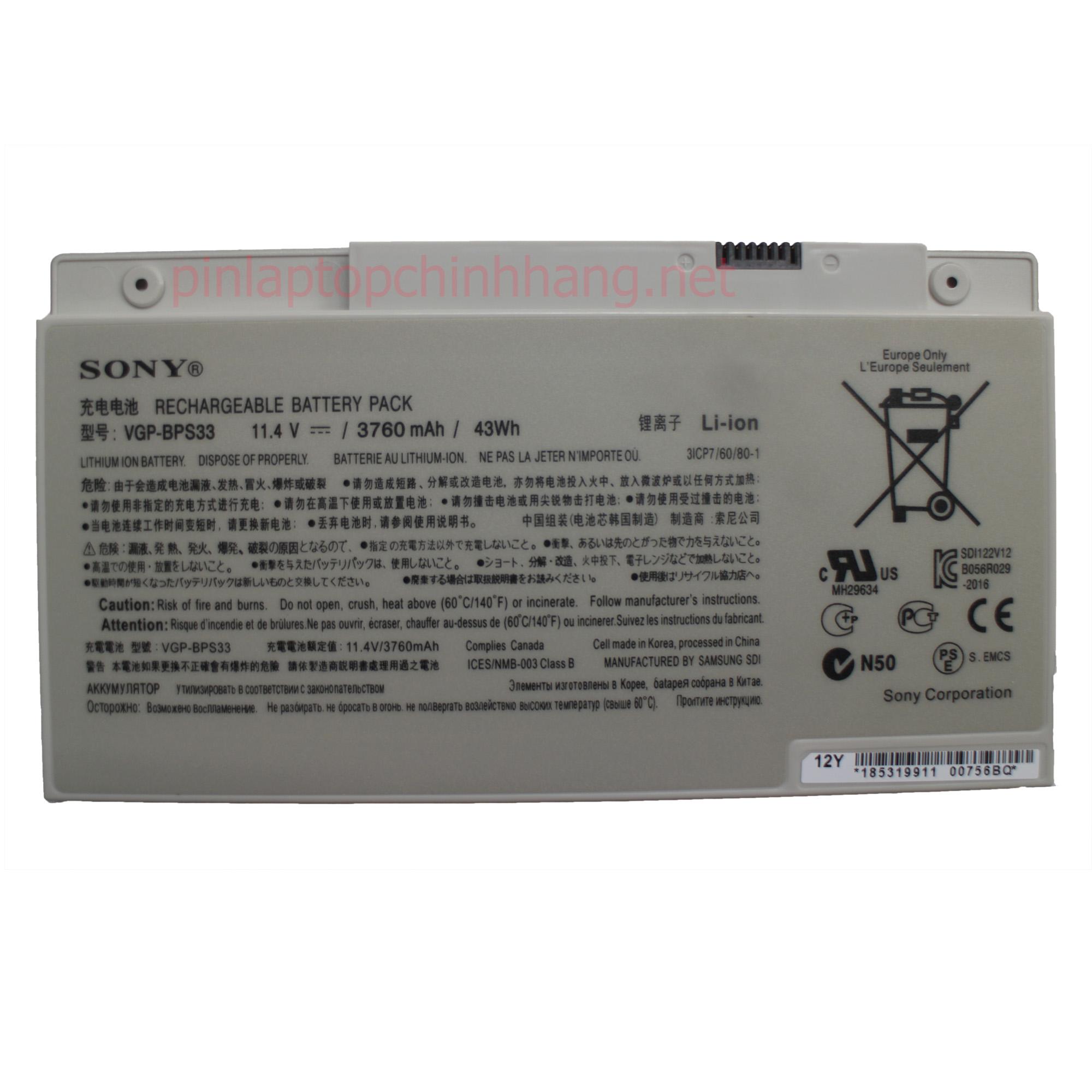 Battery / Pin Laptop Chính hãng VGP-BPS33 SVT-14 SVT-15 T14 T15 T14118CC Vaio SVT14126CXS, Vaio SVT14127CH, Vaio SVT141290X, Vaio SVT141A11L Ultrabook